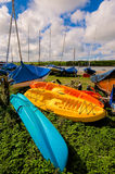 Three Colorful Ocean Kayaks Royalty Free Stock Image