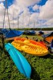 Three Colorful Ocean Kayaks Royalty Free Stock Image