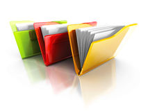 Three Colorful Office Document Folders With Reflection Royalty Free Stock Photography