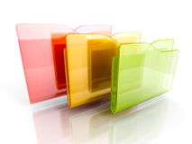 Three colorful office folders on white background. 3d render illustration Royalty Free Stock Photos
