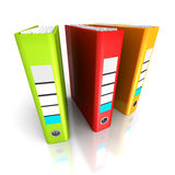 Three Colorful Office Ring Binders On White Background. 3d Render Illustration Stock Images