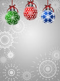 Three Colorful Ornaments on Silver Background Stock Image