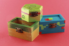 Three colorful painted jewelry box Royalty Free Stock Photos