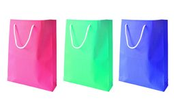 Three colorful of paper bag isolated Royalty Free Stock Photo