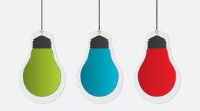 Three colorful paper bulbs royalty free illustration