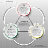 Three Colorful paper 3d circles in cycle loop sequence for website presentation cover poster  design infographic. Illustration concept Stock Photos