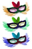Three colorful  party face masks Stock Photography
