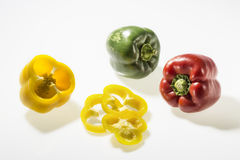 Three colorful peppers Royalty Free Stock Images