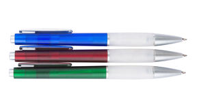 Three colorful plastic ball pen Stock Photography