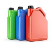 Three colorful plastic canisters Stock Image