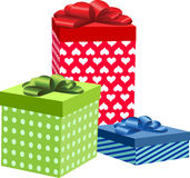 Three of colorful present boxes Stock Photography