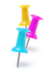 Three colorful push pins Stock Images