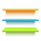 Three colorful realistic shelves Royalty Free Stock Photos