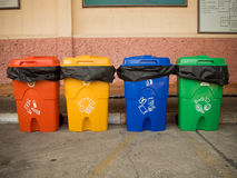 Three colorful recycle bins isolated. Green Stock Photography