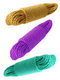 Three colorful rolls of rope Stock Photography
