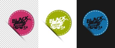 Three Colorful Round Black Friday Sale Buttons - Vector Illustration - Isolated On Transparent Background royalty free illustration