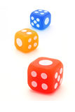 Three colorful rubber dice Stock Image