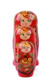 Three colorful russian dolls over white Stock Photos