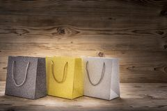 Three colorful shopping bags stock photo