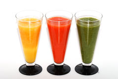 Three colorful smoothie from above Stock Photo