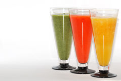 Three colorful smoothie diagonally Stock Photos