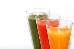 Three colorful smoothie large view Royalty Free Stock Photos