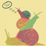 Three colorful snails with speech bubble. Pyramid of three snails with speech bubble Stock Photography