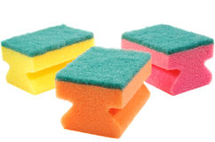 Three colorful sponges. Royalty Free Stock Photo