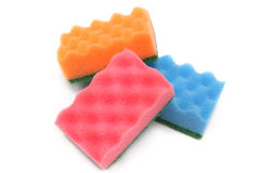 Three colorful  sponges Stock Photography