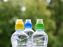 Three Colorful sport plastic water bottle Royalty Free Stock Image