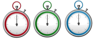 Three Colorful Stopwatch Stock Photography