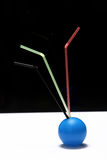 Three colorful straws Royalty Free Stock Photography