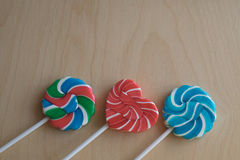 Three colorful sugar lollipops Stock Image