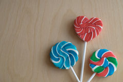Three colorful sugar lollipops Royalty Free Stock Photo