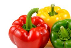 Three colorful sweet pepper, red, yellow, green, paprika, clippi Stock Image