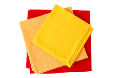 Three colorful textile napkins on white Stock Photography