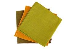 Three colorful textile napkins on white Royalty Free Stock Photo