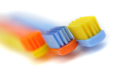 Three Colorful Toothbrushes Royalty Free Stock Photography