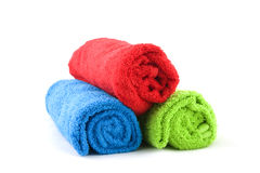 Three colorful towels Stock Image