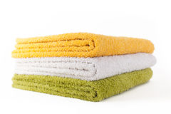 Three colorful towels isolated Royalty Free Stock Photos