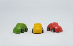 Three colorful toy car with white background Stock Photos