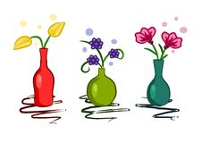 Three colorful vase with flowers - vector Royalty Free Stock Photography