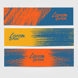 Three colorful vector stickers or banners with a brush stroke Stock Images