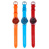 Three colorful watches Stock Images