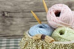 Three colorful wool yarn balls Stock Image