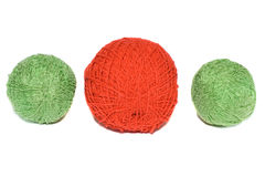 Three colorful wool yarn clews Royalty Free Stock Photo