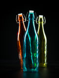 Three colorfull bottles Stock Photo
