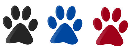 Three colorfull paw print Royalty Free Stock Images