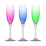 Three colorfull wineglasses on white Royalty Free Stock Photography