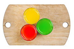 Three colors. drinks, soda. Three drinks on the wooden spacing Royalty Free Stock Images